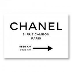 Chanel Rue Cambon Paris White Sign Wall Art