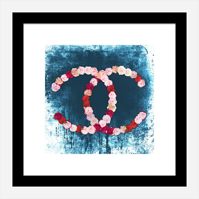 Chanel Flowers Blue Abstract Wall Art Print