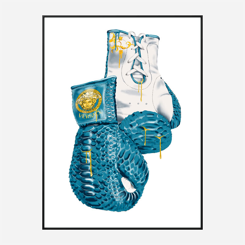 Versace Eros Blue Boxing Gloves Art Print
