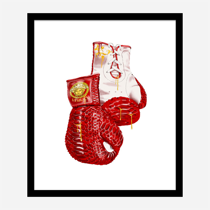 Versace Red Boxing Gloves Art Print