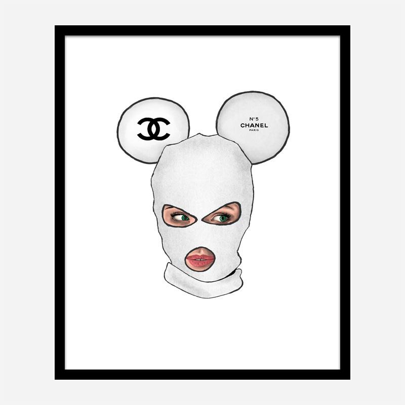 Chanel Micky White Balaclava Art Print