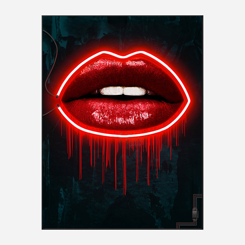 LV Lips Neon Style Art Print