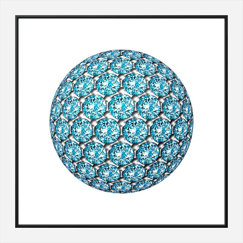 Diamond Ball Blue Art Print