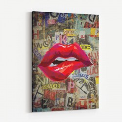 Grunge Red Lips Art Print
