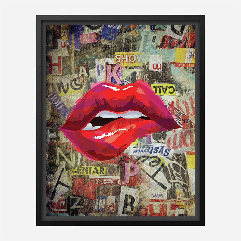 Grunge Red Lips Art Print