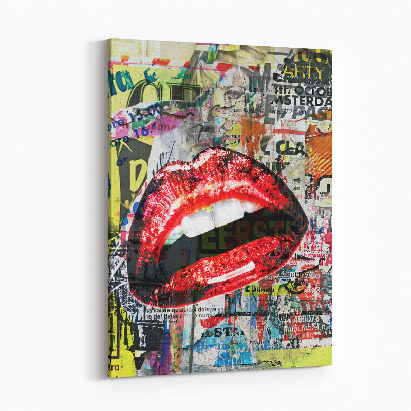 Red Lips Grunge Art Print