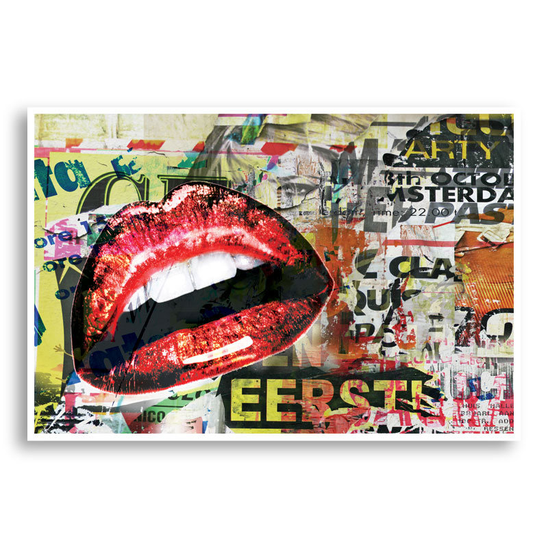 Red Grunge Lips Wall Art