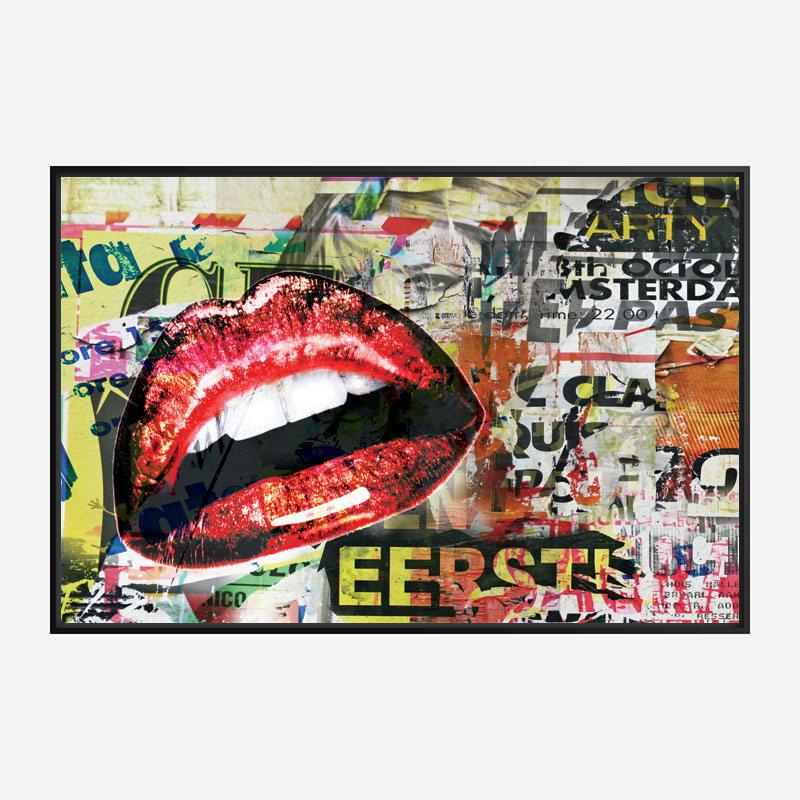 Red Grunge Lips Wall Art