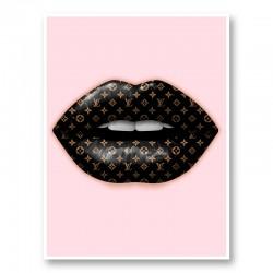 LV Black Lips On Pink Art Print
