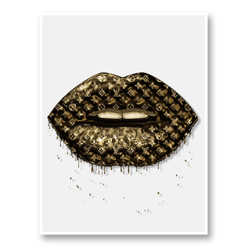 LV Gold Drip Lips Art Print