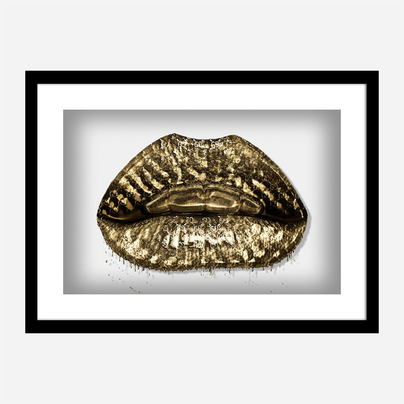 Gucci Gold Lips Wall Art