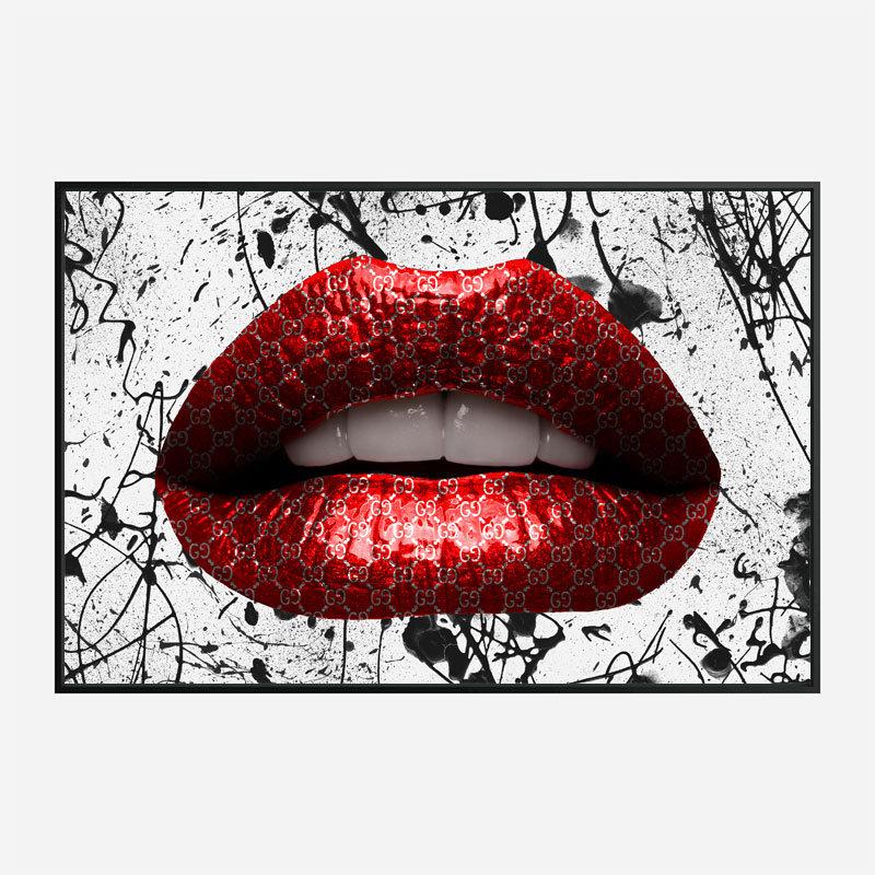 Gucci Red Lips Graffiti Wall Art