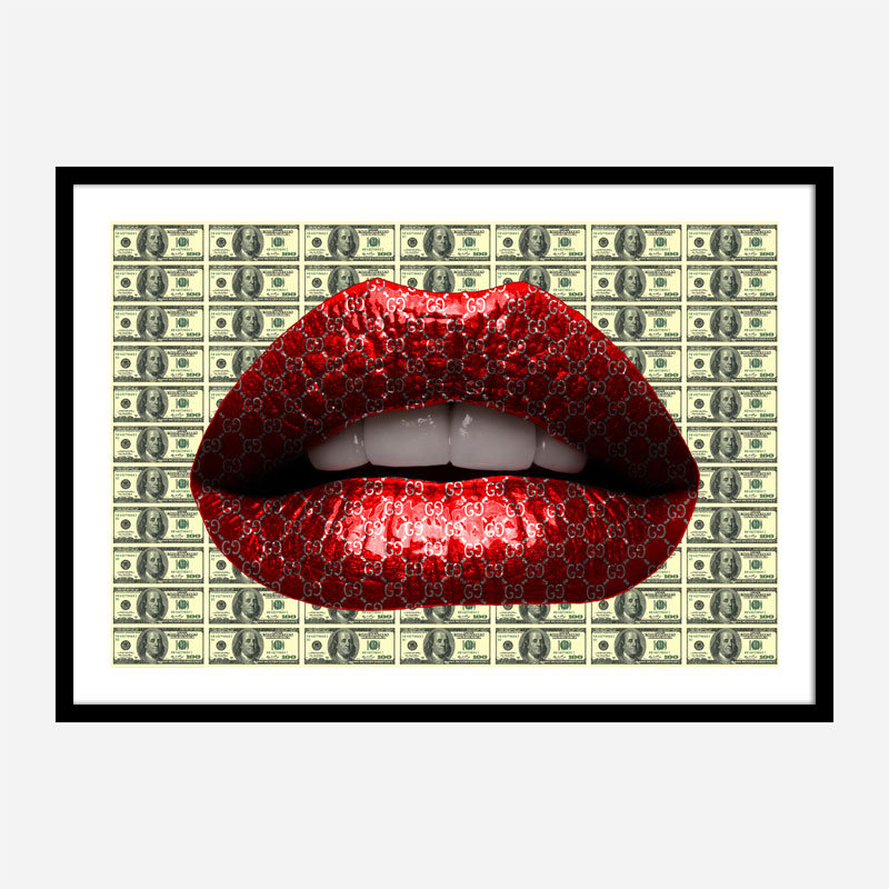 Gucci Dollars Red Lips Wall Art