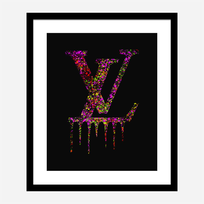 LV Dripping Logo Paint Splatter Art Print
