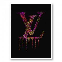 LV Dripping Logo Paint Splatter Art Print