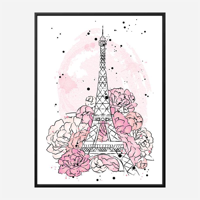 Eiffel Tower in Blossom Art Print