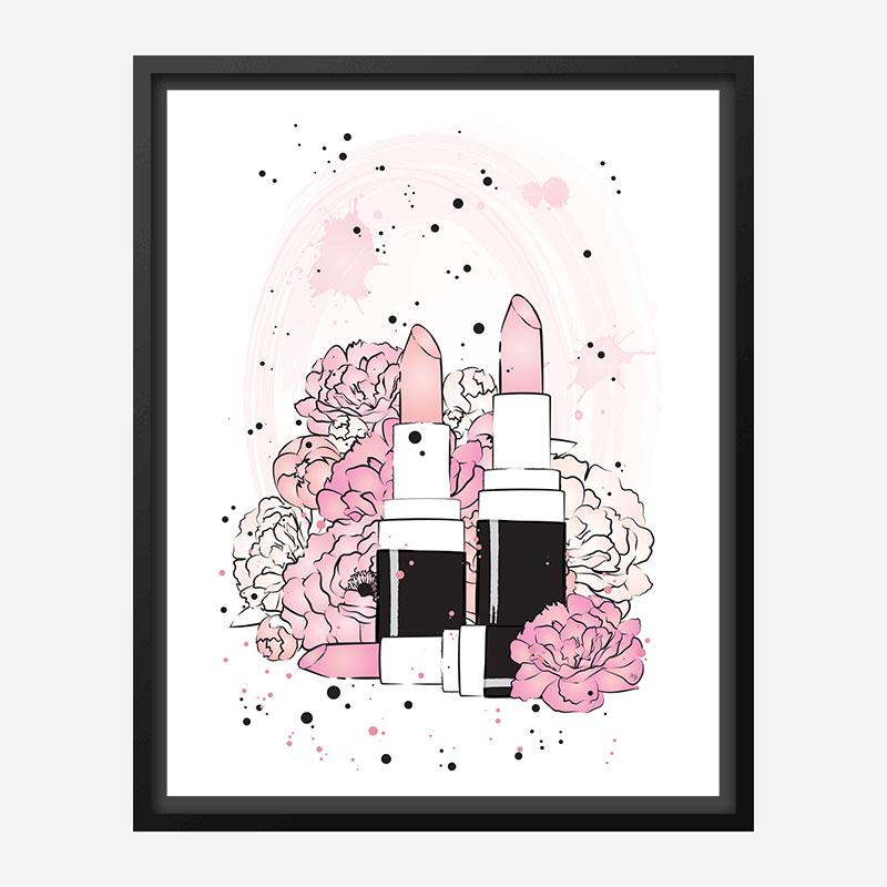 Lipstick and Flowers Art Print