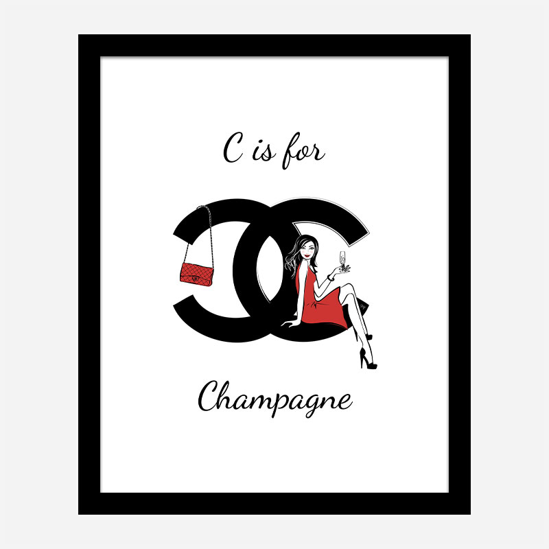 C is For Champagne Art Print