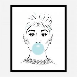 Audrey Hepburn Bubble Gum Art Print