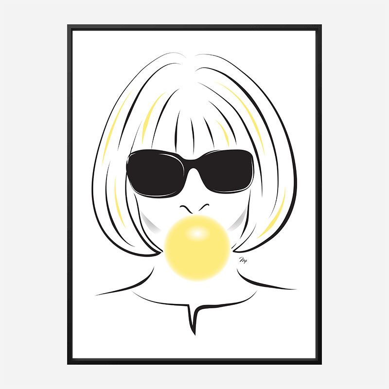 Anna Wintour Bubble Gum Art Print