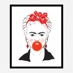 Frida Kahlo Bubble Gum Art Print