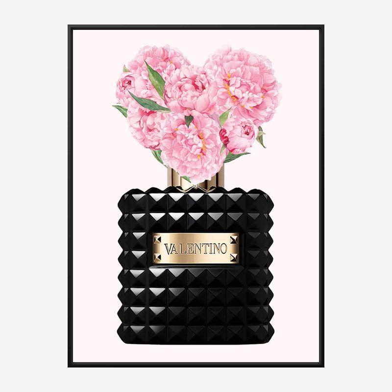 Donna Noir Perfume Flowers Art Print
