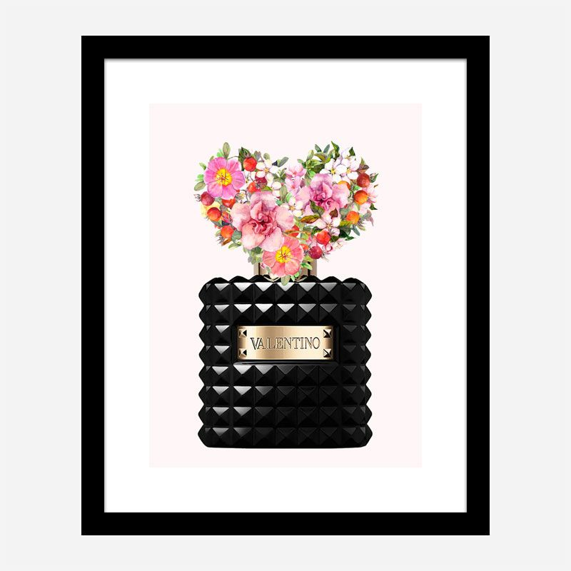 Donna Noir Perfume Heart Flowers Art Print