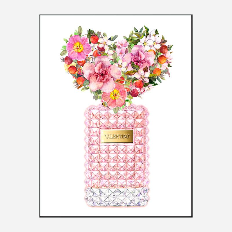 Donna Rosa Perfume Heart Flowers Art Print