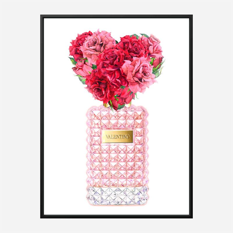 Donna Rosa Perfume Red Heart Flowers Art Print
