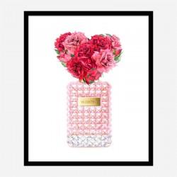Donna Rosa Perfume Red Heart Flowers Art Print