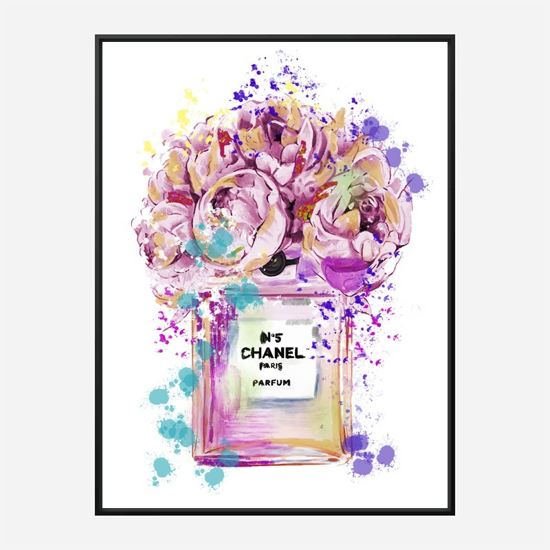 Chanel No 5 Pink Flowers Art Print