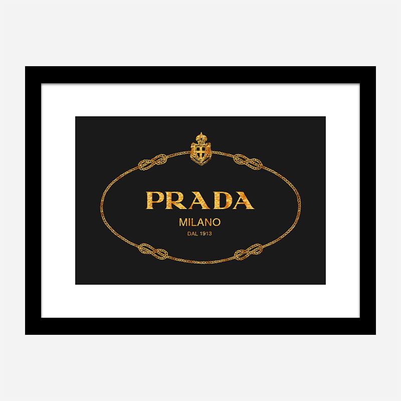 Prada Logo Black and Gold Wall Art