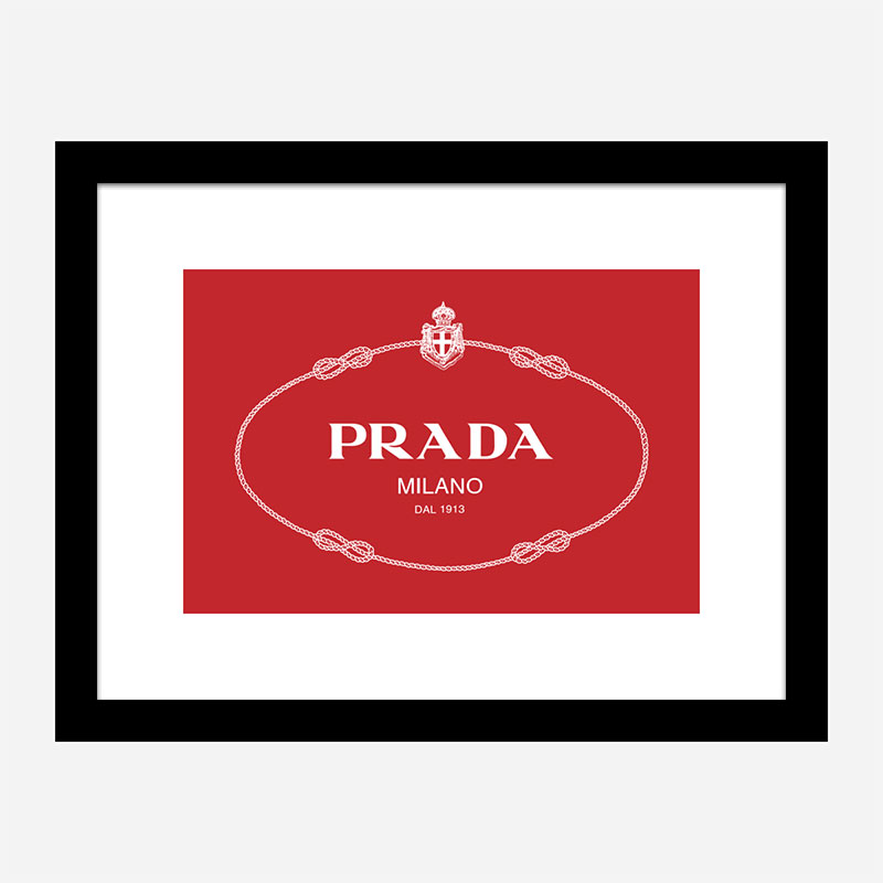 Prada Logo Red and White Wall Art