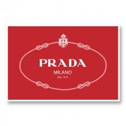 Prada Logo Red and White Wall Art