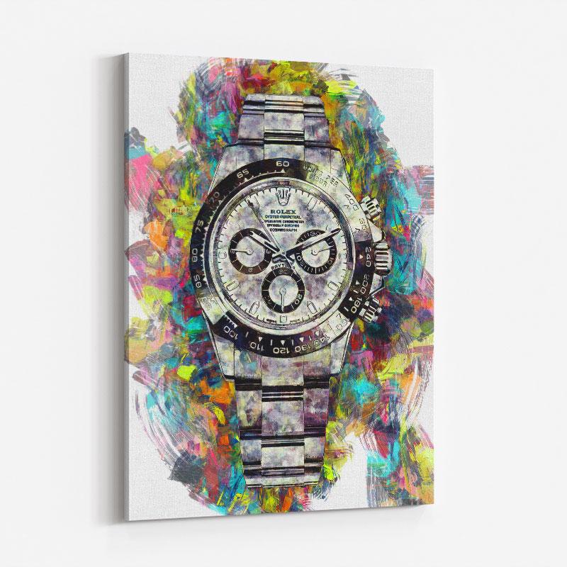 Rolex Daytona Acrylic Brush Art Print