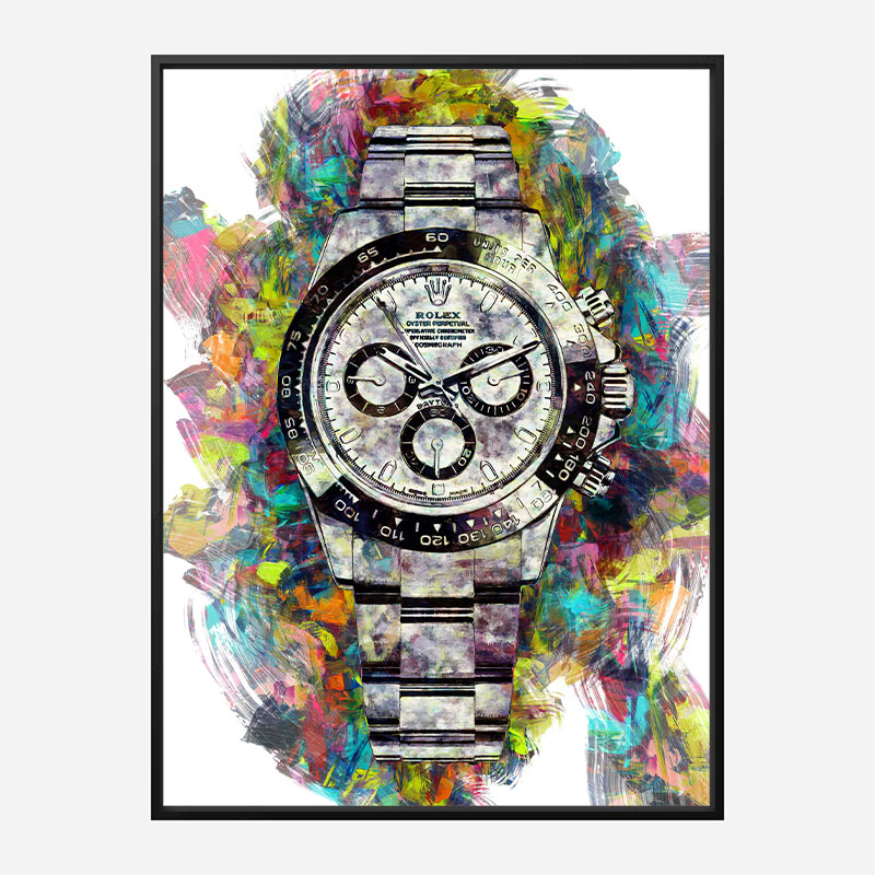 Rolex Daytona Acrylic Brush Art Print