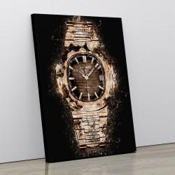 Patek Nautilus Gold On Black Abstract Art Print