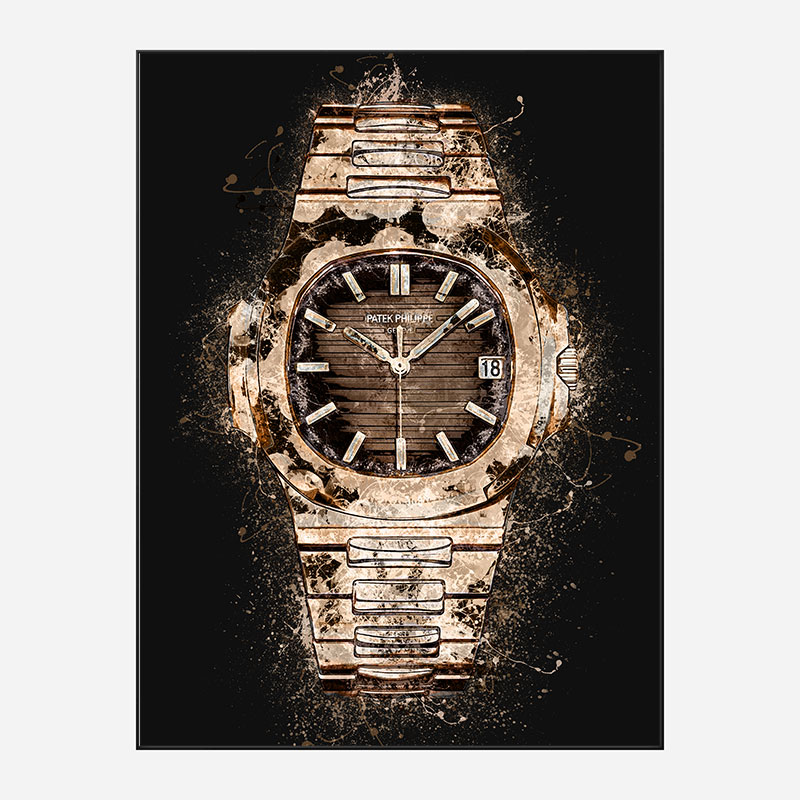 Patek Nautilus Gold On Black Abstract Art Print