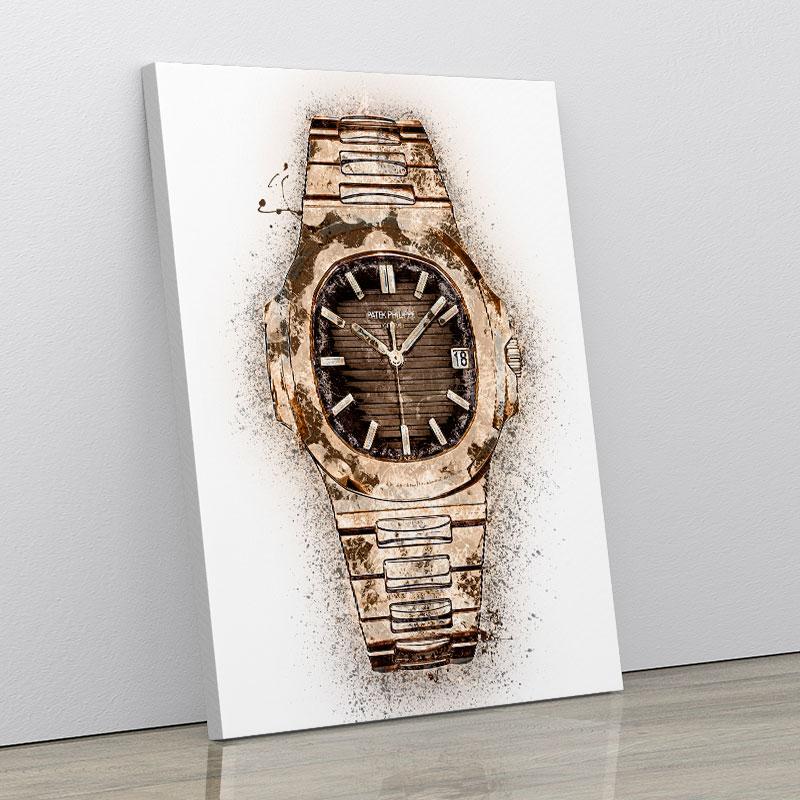 Patek Nautilus Gold Abstract Art Print