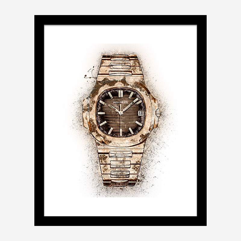 Patek Nautilus Gold Abstract Art Print