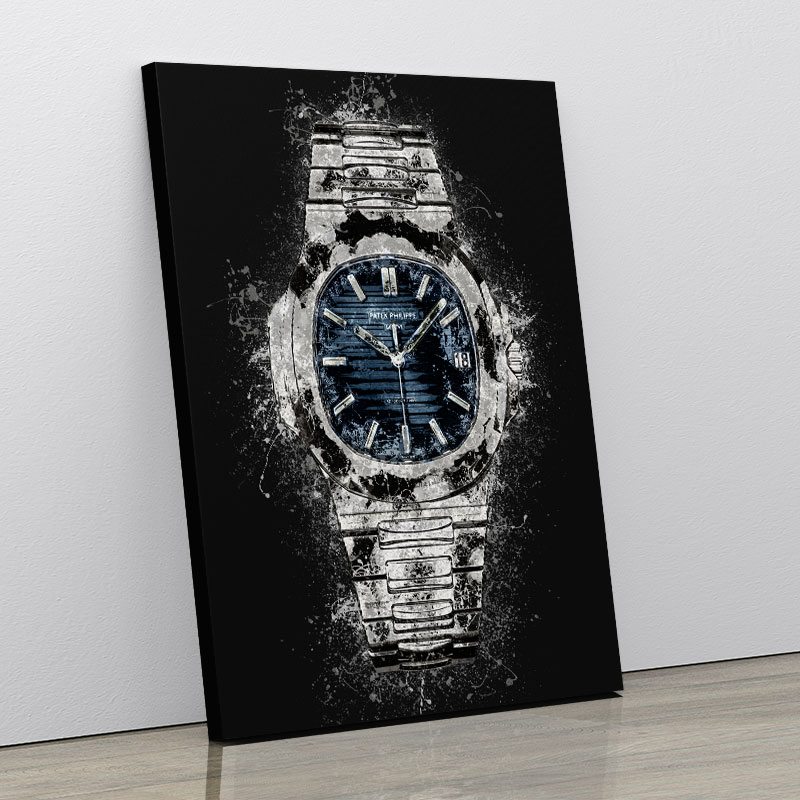 Patek Nautilus On Black Abstract Art Print