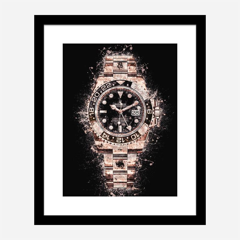 GMT Master Rose Gold On Black Abstract Art Print