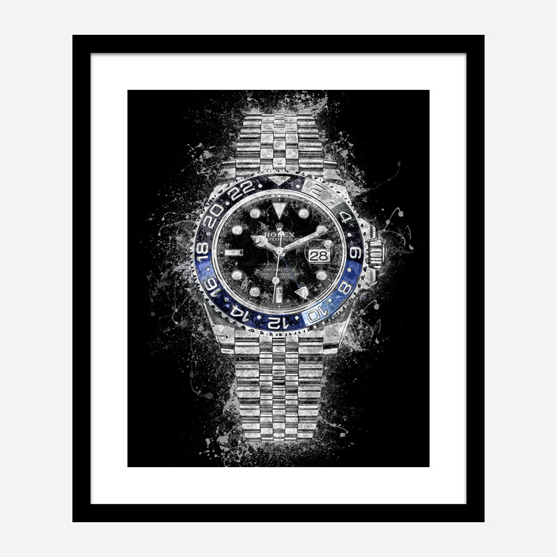 Rolex Batman On Black Abstract Art Print