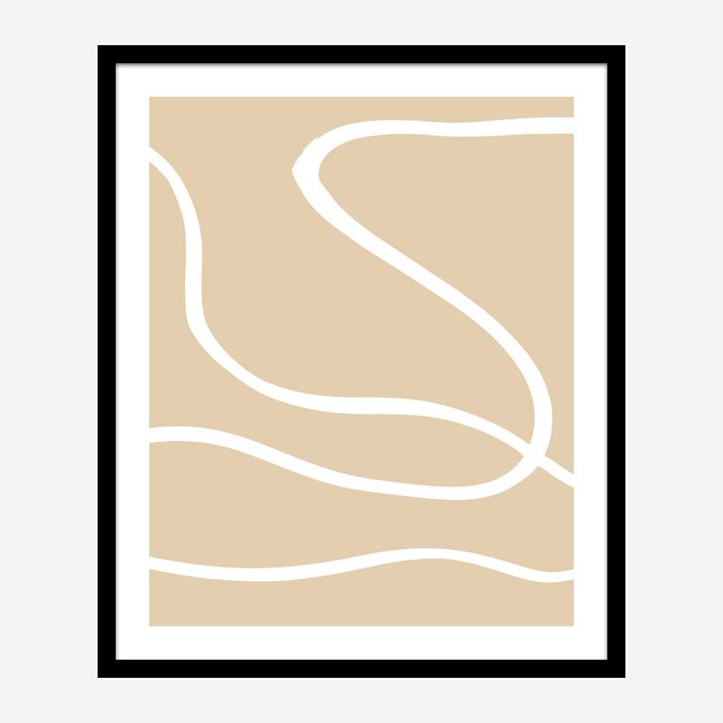 Beige Lines 01 Wall Art Print