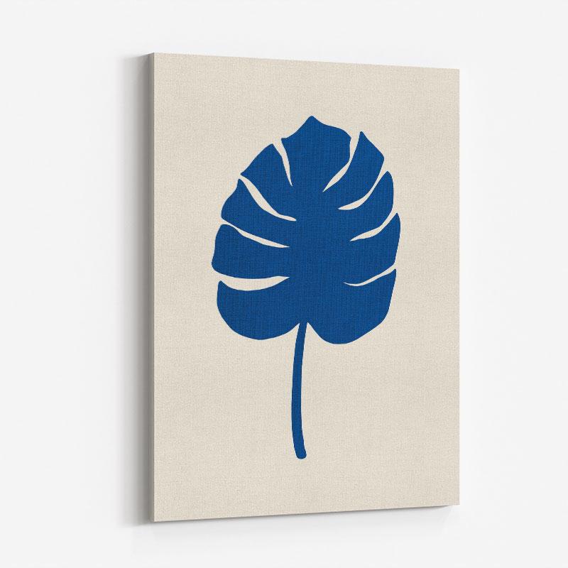 Monstera Canvas Blue Wall Art Print