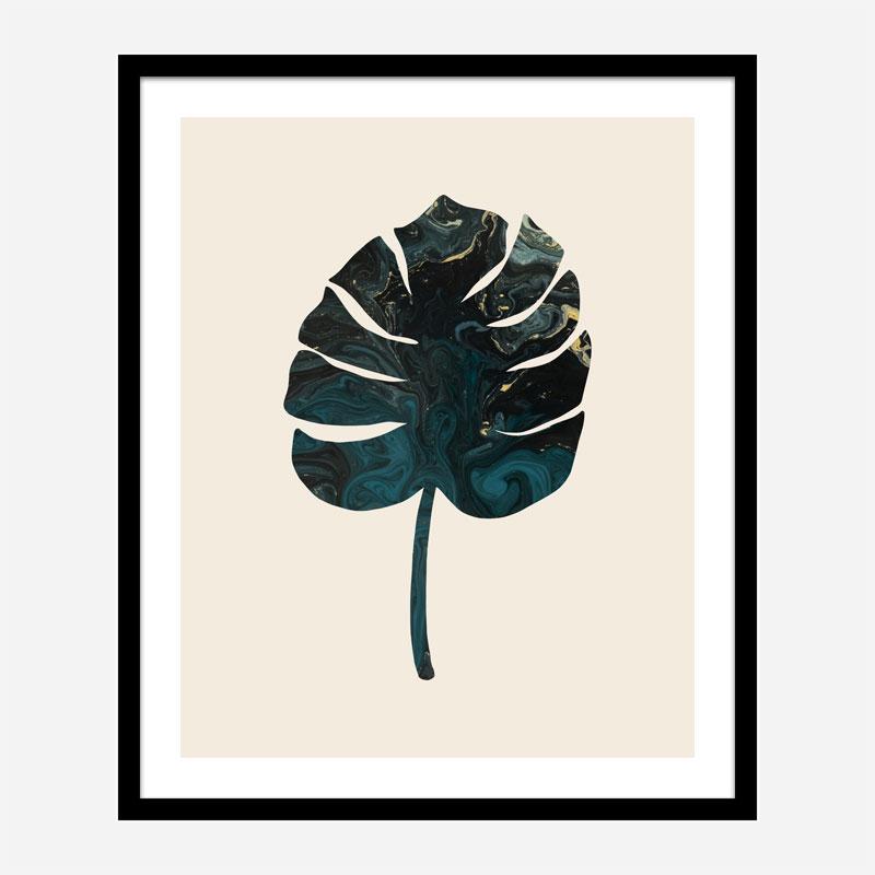Monstera Marble Green Wall Art Print