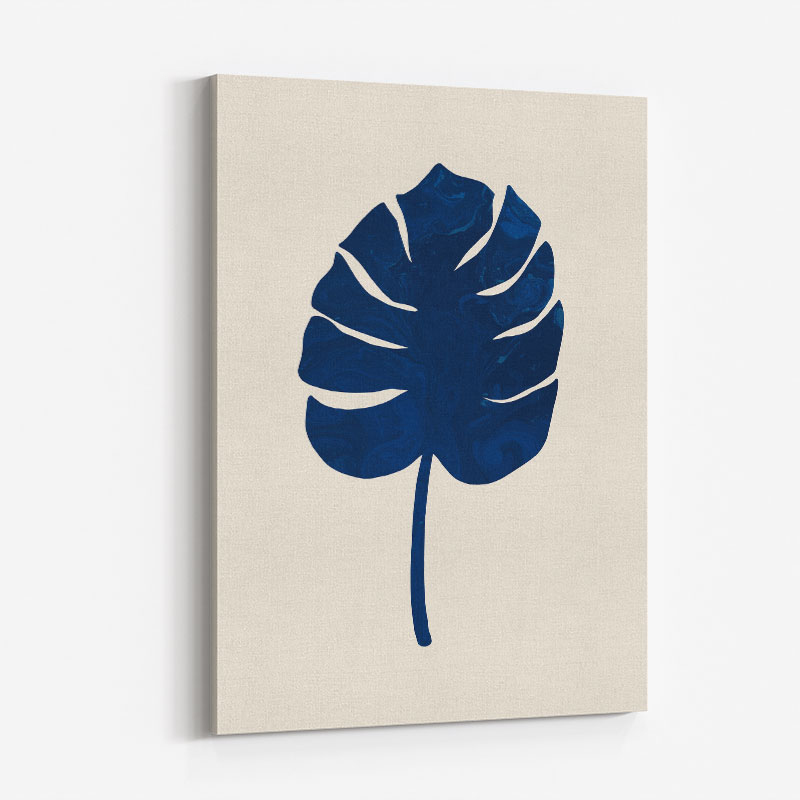 Monstera Marble Blue Wall Art Print