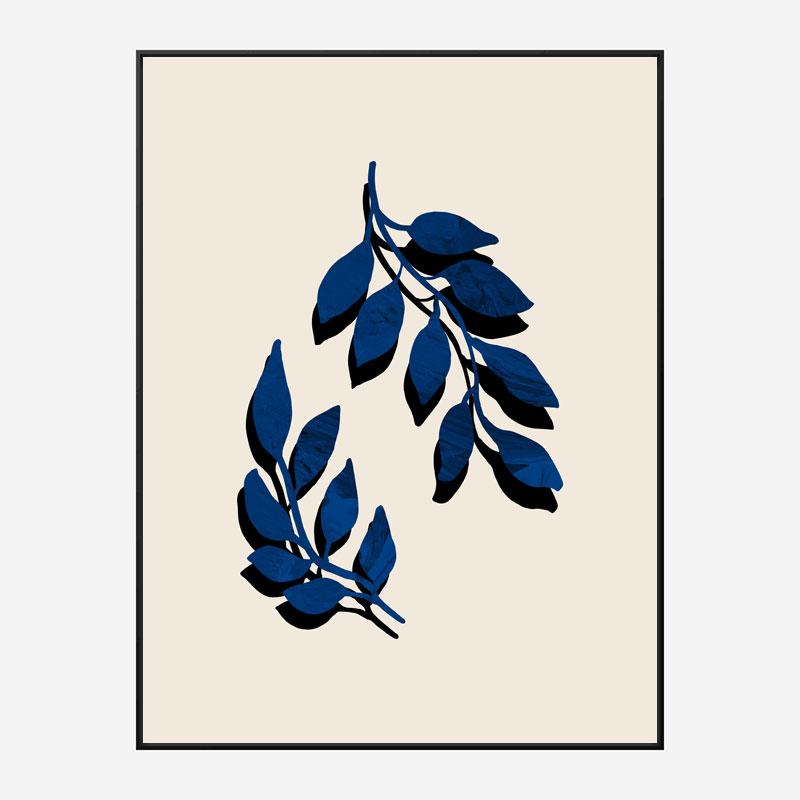 Blue Twig Brush Wall Art Print
