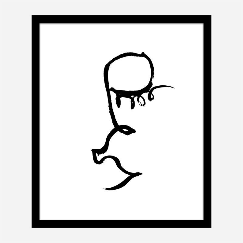 Half Face Black Wall Art Print