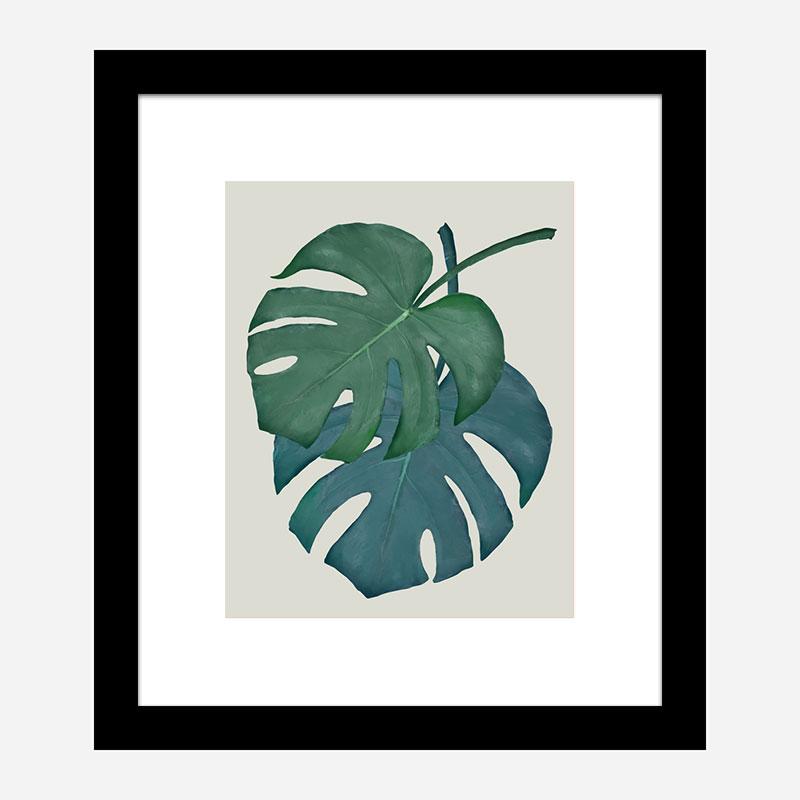 Monstera Aqua 06 Wall Art Print